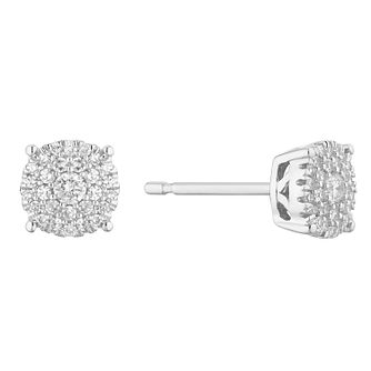 9ct White Gold 0.15ct Diamond Cluster Stud Earrings - Product number 1150383