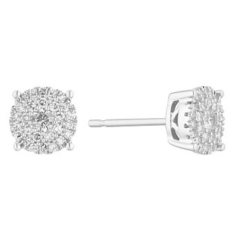9ct White Gold 0.25ct Diamond Cluster Stud Earrings - Product number 1150391