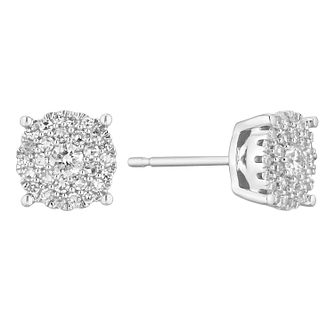 9ct White Gold 0.33ct Diamond Cluster Stud Earrings - Product number 1150405