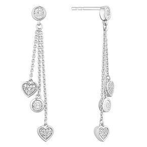 Sterling Silver 1/10 Diamond Heart Chain Drop Earrings - Product number 1150502