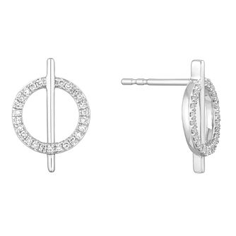 Sterling Silver 0.15ct Diamond Circle Bar Stud Earrings - Product number 1150537