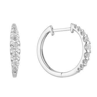 9ct White Gold 1/2ct Diamond Graduated Hoop Earrings - Product number 1150545