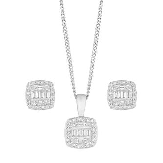9ct White Gold 1/4ct Diamond Baguette Earring & Necklace Set - Product number 1150782