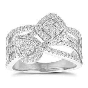 9ct White Gold 1/2ct Pear & Cushion Diamond Cluster Ring - Product number 1152106