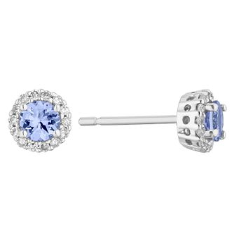 9ct White Gold Tanzanite 1/10ct Diamond Halo Stud Earrings - Product number 1170988