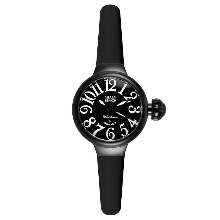 Glam Rock Miami Beach Ladies' Black Silicone Strap Watch - Product number 1210025