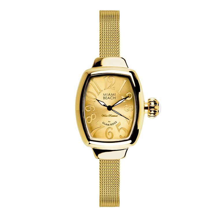 Glam Rock Miami Beach Ladies' Gold Tone Mesh Bracelet Watch - Product number 1210211