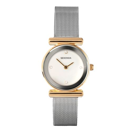 Sekonda Ladies' Gold Plated White Dial Mesh Bracelet Watch - Product number 1214497