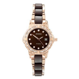 Sekonda Ladies' Rose Gold Plated and Brown Bracelet Watch - Product number 1214500