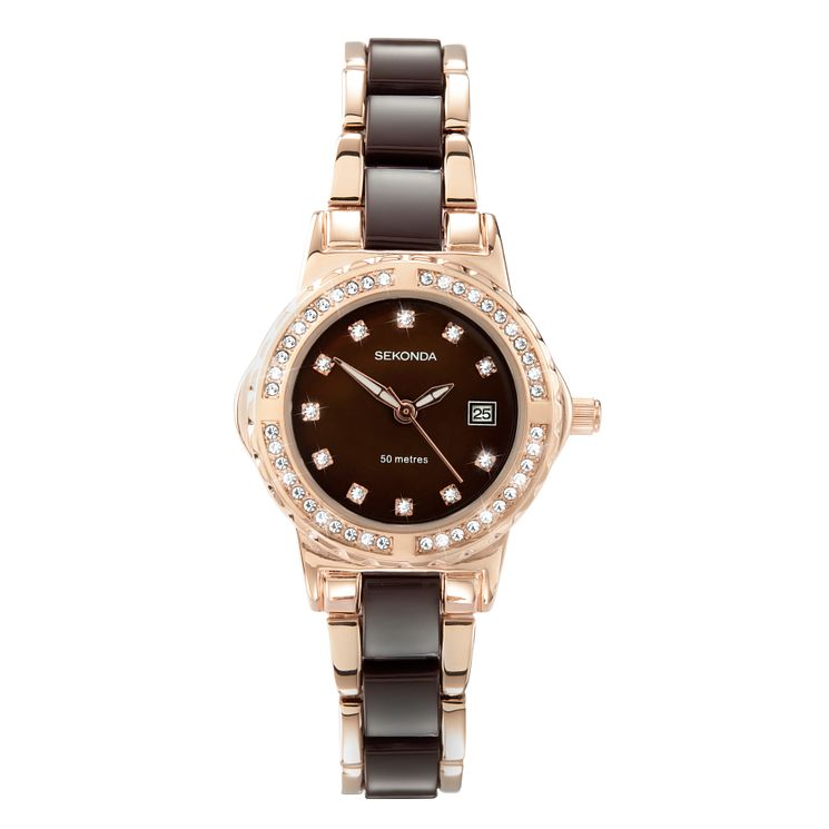 Sekonda La s Rose Gold Plated and Brown Bracelet Watch