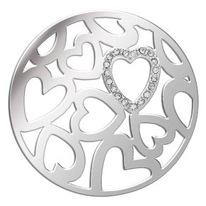 Lucet Mundi silver tone love heart crystal coin - large - Product number 1225359