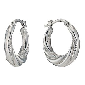 Silver Rhodium-Plated Twist & Texture Creole Hoop Earrings - Product number 1234064