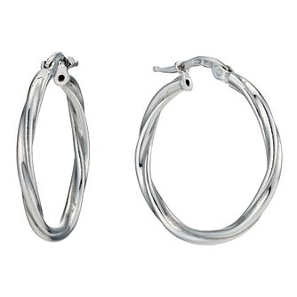 Silver Rhodium-Plated Round Twist Creole Hoop Earrings - Product number 1234080