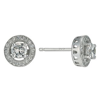 Silver Rhodium-Plated Cubic Zirconia Halo Stud Earrings - Product number 1234137