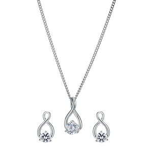 Silver Rhodium-Plated Cubic Zirconia Infinity Set - Product number 1234374