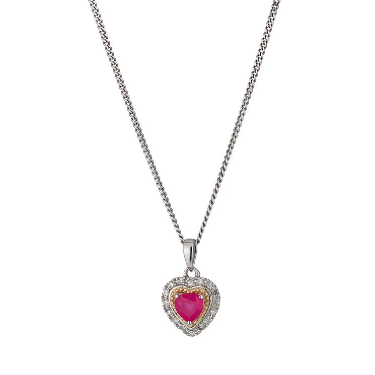 Silver & 9ct Yellow Gold Treated Ruby Diamond Heart Pendant - Product number 1244396