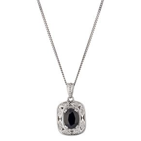Sterling Silver Sapphire & Diamond Vintage Pendant - Product number 1244442