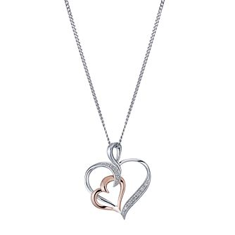 Silver & Rose Gold Diamond Heart Pendant - Product number 1244671