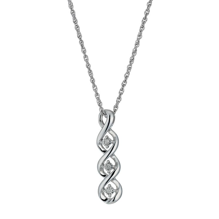 Silver Diamond Twist Drop Pendant - Product number 1245252