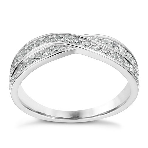 Platinum 0.25ct diamond crossover ring - Product number 1246879