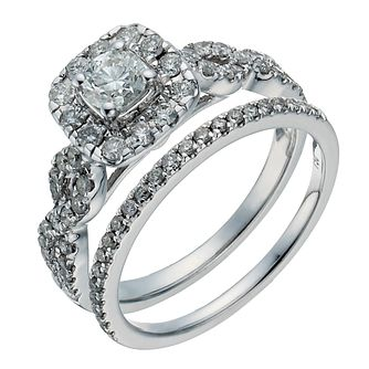 18ct white gold one carat diamond halo bridal set - Product number 1265970