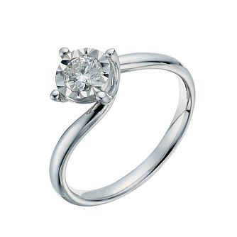 9ct white gold 1/3ct twist illusion solitaire ring - Product number 1271881
