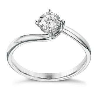 9ct white gold 0.17ct twist illusion solitaire ring - Product number 1272020