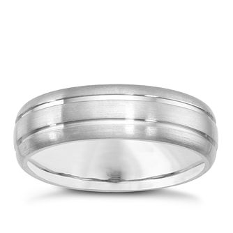 Titanium 6mm Satin & Polished Ridged Ring - Product number 1274279