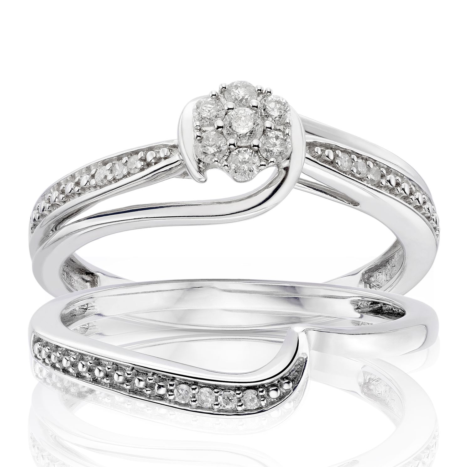 9ct White Gold 0 15ct Diamond Perfect Fit Bridal Set