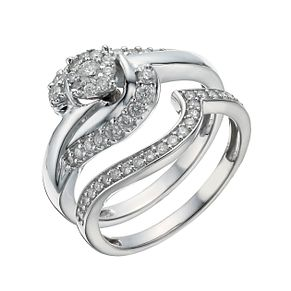9ct White Gold 1/2 Carat Diamond Perfect Fit Bridal Set - Product number 1280473