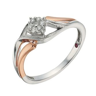 Cherished Silver & 9ct Rose Gold Carat Diamond Ring - Product number 1281992