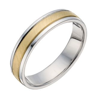 Sterling Silver & 9ct Yellow Gold Matt Ring - Product number 1282131