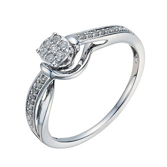 9ct White Gold Round Diamond Cluster Ring - Product number 1286757