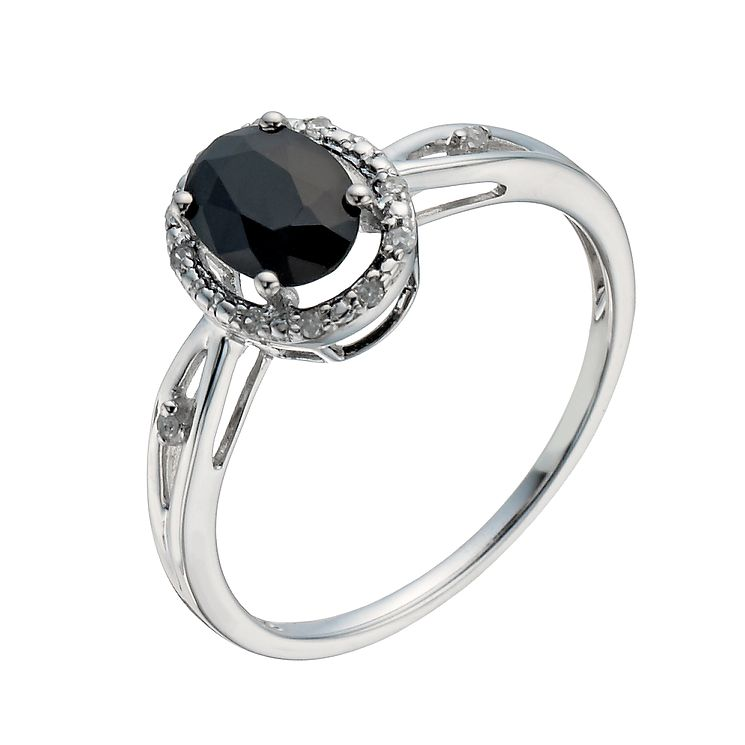 9ct White Gold Sapphire & Diamond Ring - Product number 1287176