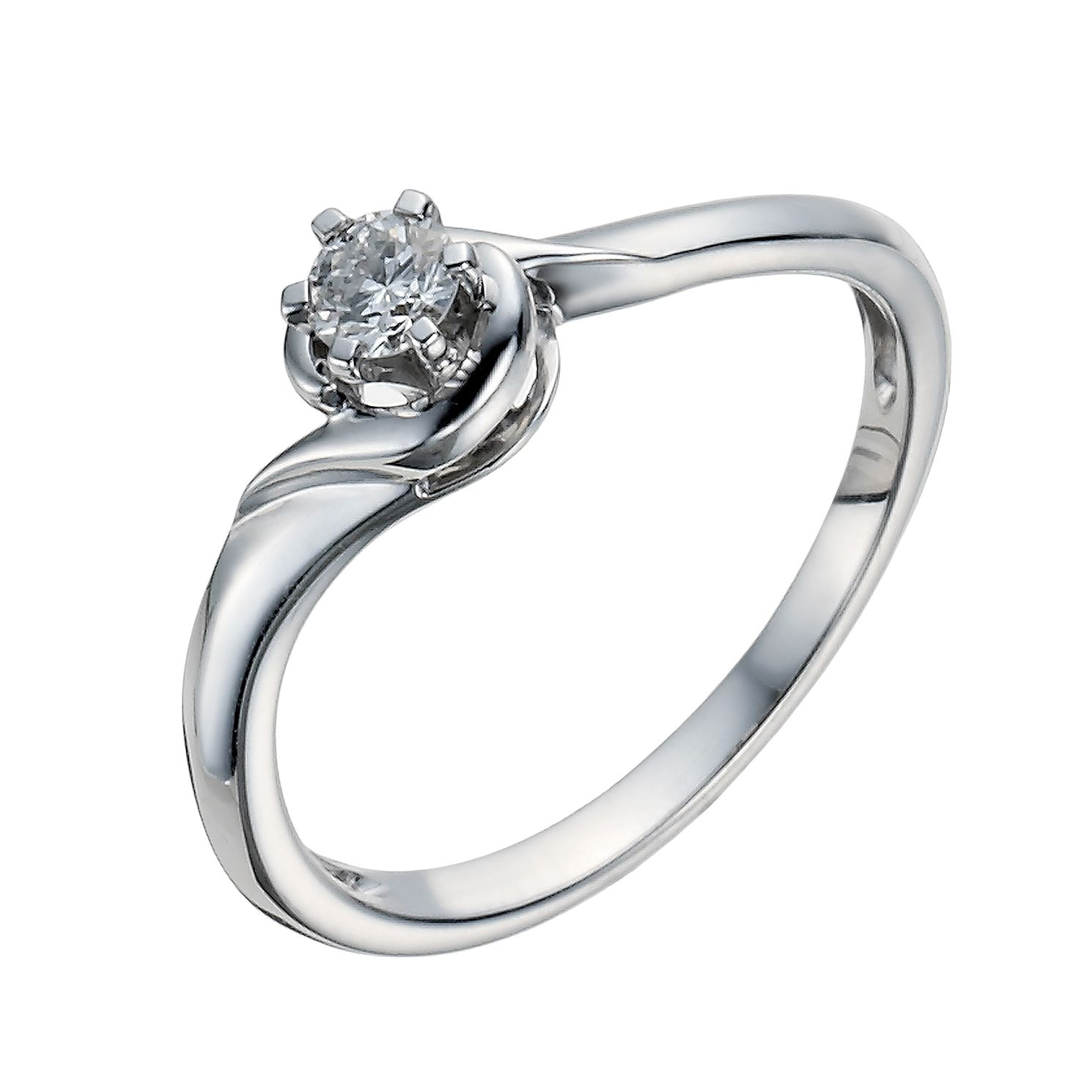 9ct White Gold 1 6 Carat Diamond Solitaire Ring