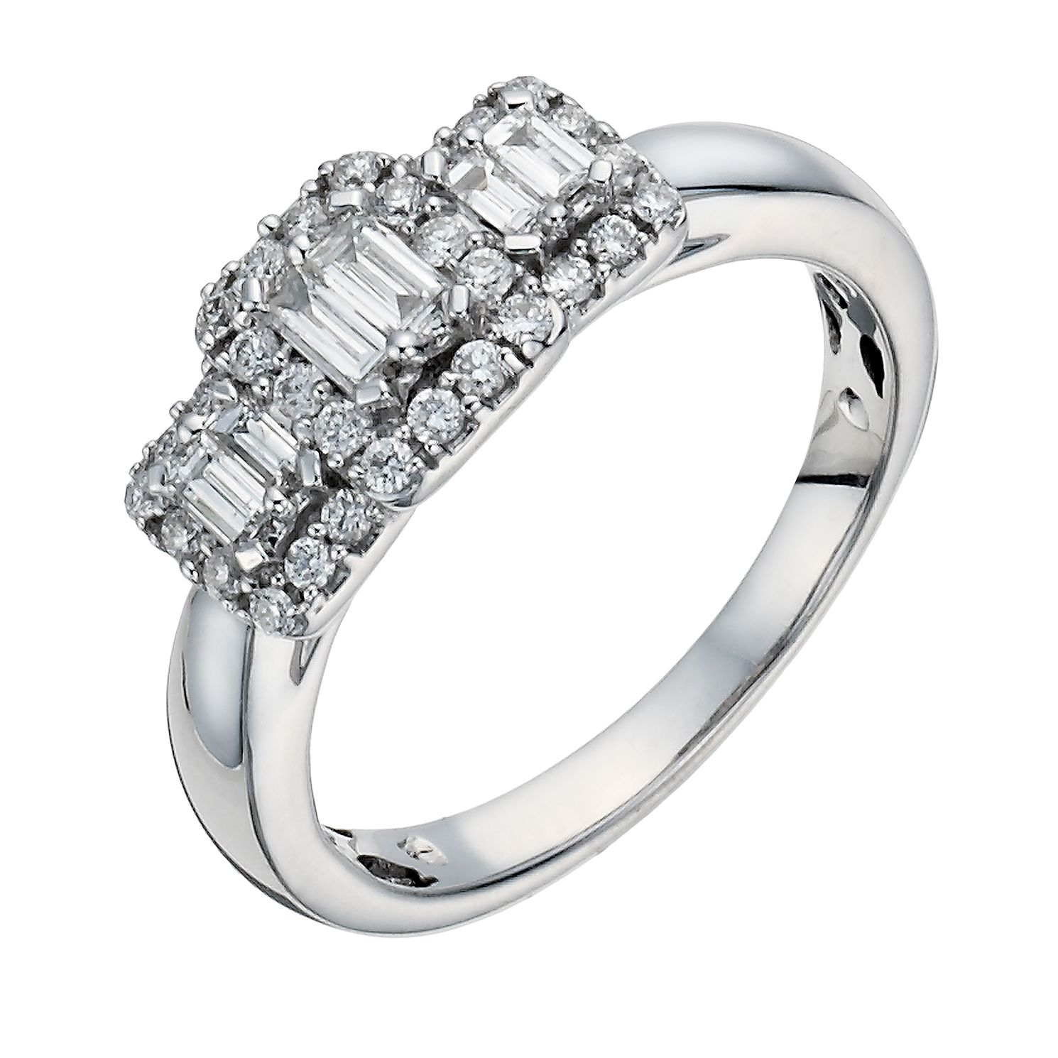 diamond baguette with rings accents engagement ring platinum princess cut