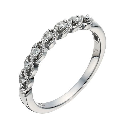 9ct White Gold & Diamond Twist Eternity Ring - Product number 1295586