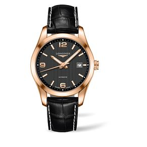 Longines Conquest men's 18ct rose gold black strap watch - Product number 1297767