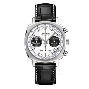 Longines men's chronograph black leather strap watch - Product number 1297872
