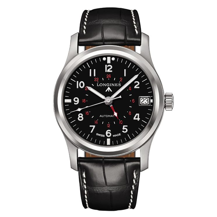 Longines Heritage men's stainless steel black strap watch - Product number 1297929
