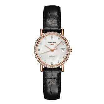Longines Prestige ladies' black leather strap watch - Product number 1298054