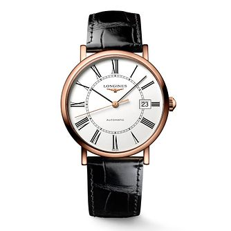 Longines men's 18ct rose gold black leather strap watch - Product number 1298097