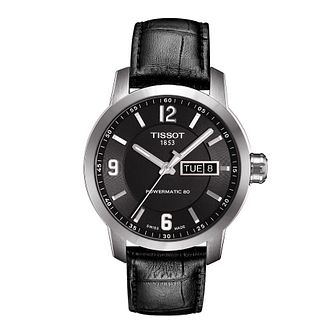 Tissot men's stainless steel black leather strap watch - Product number 1302205