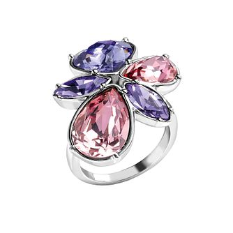 Radiance Tanzanite & Rose Swarovski Element Flower Ring N - Product number 1322591