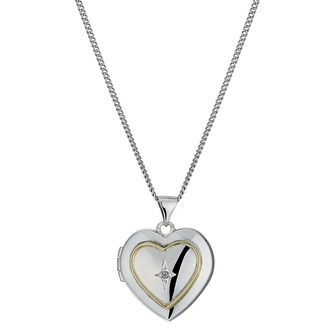 Silver & 9ct Gold Diamond Heart Locket - Product number 1324969