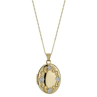 9ct Yellow Gold Flower Embossed Oval Locket - Product number 1325027