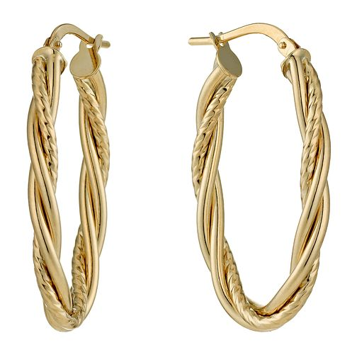 9ct Yellow Gold Oval Fancy Twist Creole Hoop Earrings - Product number 1326015