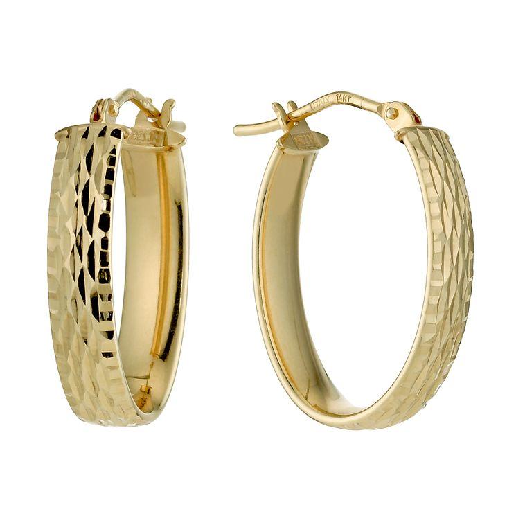 9ct Yellow Gold Diamond Cut Creole Hoop Earrings