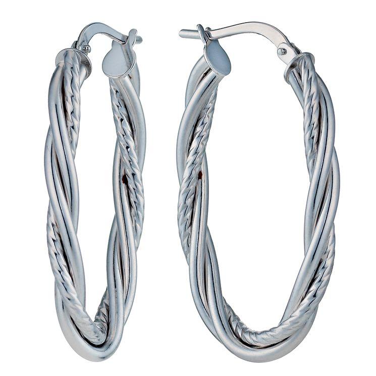 9ct White Gold Oval Fancy Twist Creole Hoop Earrings