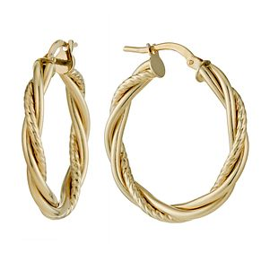 9ct Yellow Gold 25mm Fancy Twist Creole Hoop Earrings - Product number 1326171